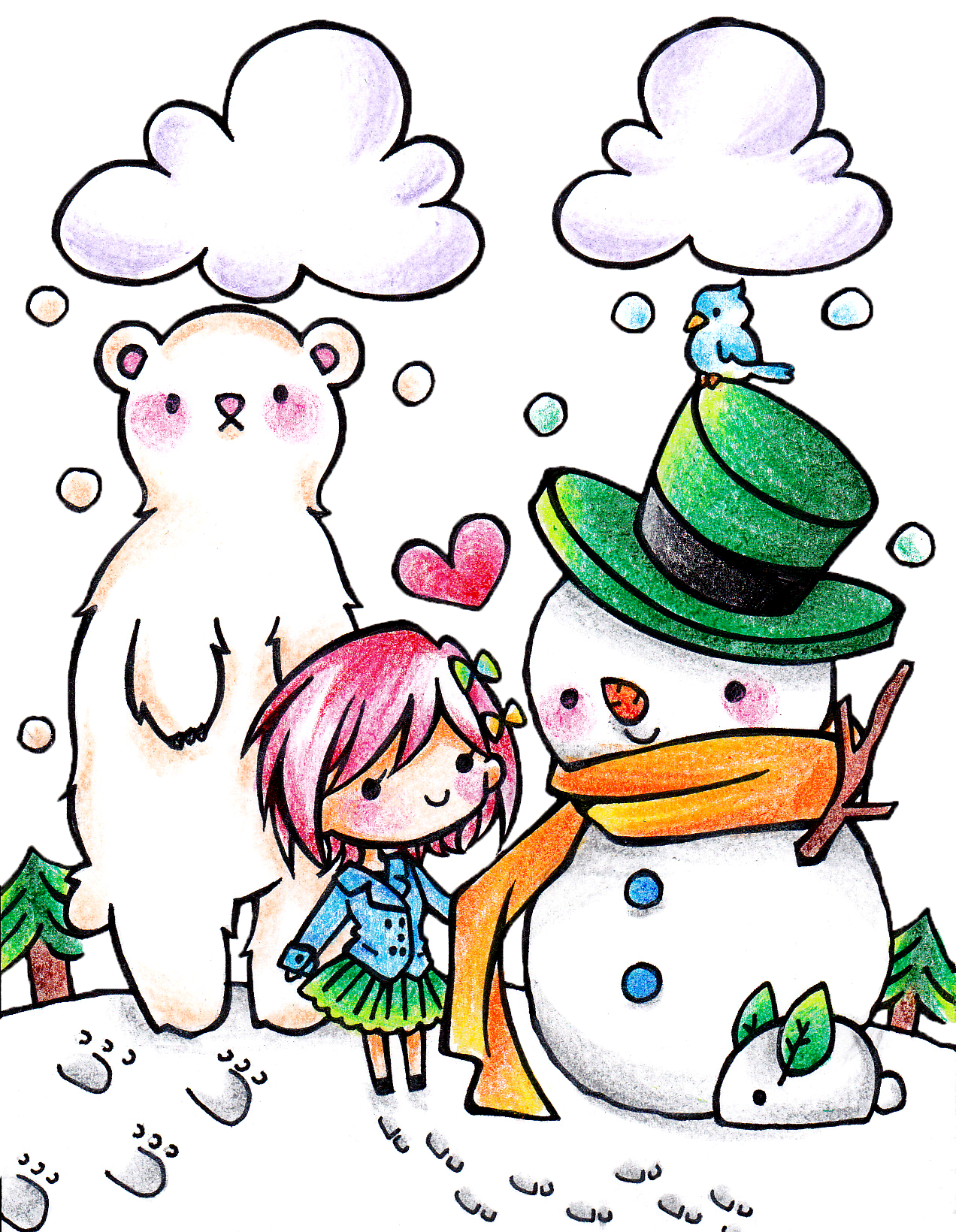 Kawaii school clipart svg black and white download 28+ Collection of Kawaii Snowman Drawing | High quality, free ... svg black and white download