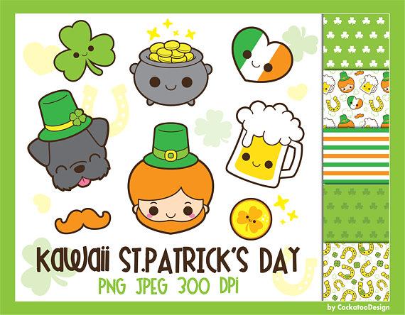 Kawaii shamrock clipart clip library download St.Patricks Day clipart, Saint Patricks Day clip art, kawaii ... clip library download