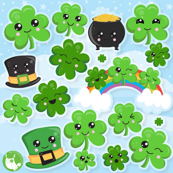 Kawaii shamrock clipart free Shamrock Clipart Commercial Worksheets & Teaching Resources ... free