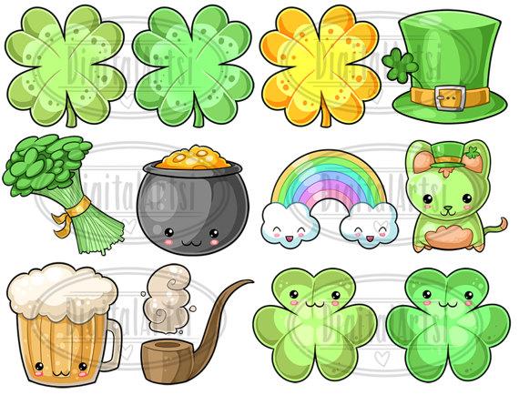 Kawaii shamrock clipart clipart Kawaii St. Patrick\'s Day Clipart - Kawaii Download - Instant ... clipart