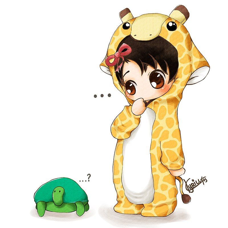 Kawaii turtle chibi clipart svg library download cute little chibi in a giraffe costume with a turtle. | How ... svg library download