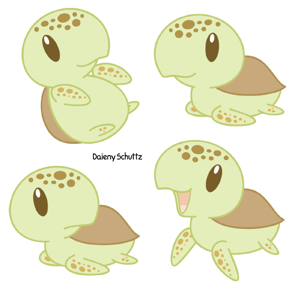 Kawaii turtle chibi clipart png black and white Chibi Loggerhead Sea Turtle by Daieny.deviantart.com on ... png black and white