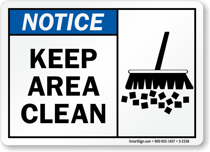 Keep clean signs clipart svg stock Keep Area Clean Signs, Notice Signs, SKU: S-2338 svg stock