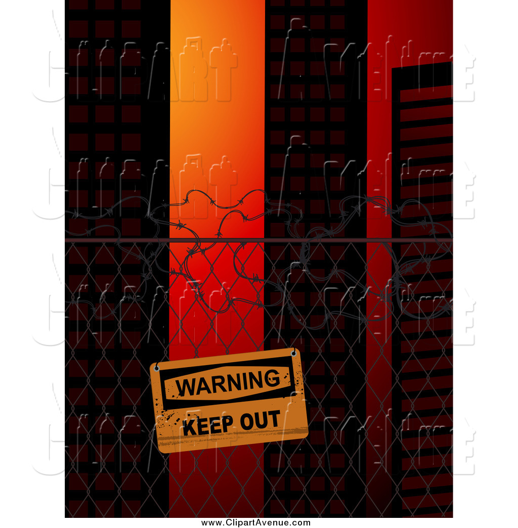Keep out sign clipart graphic royalty free library Avenue Clipart of a Warning Keep out Sign on a Wire Fence ... graphic royalty free library