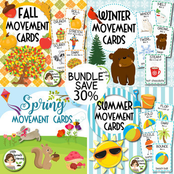 Keep them learning over the summer clipart for teachers banner Fall, Winter, Spring, Summer Movement Cards BUNDLE banner