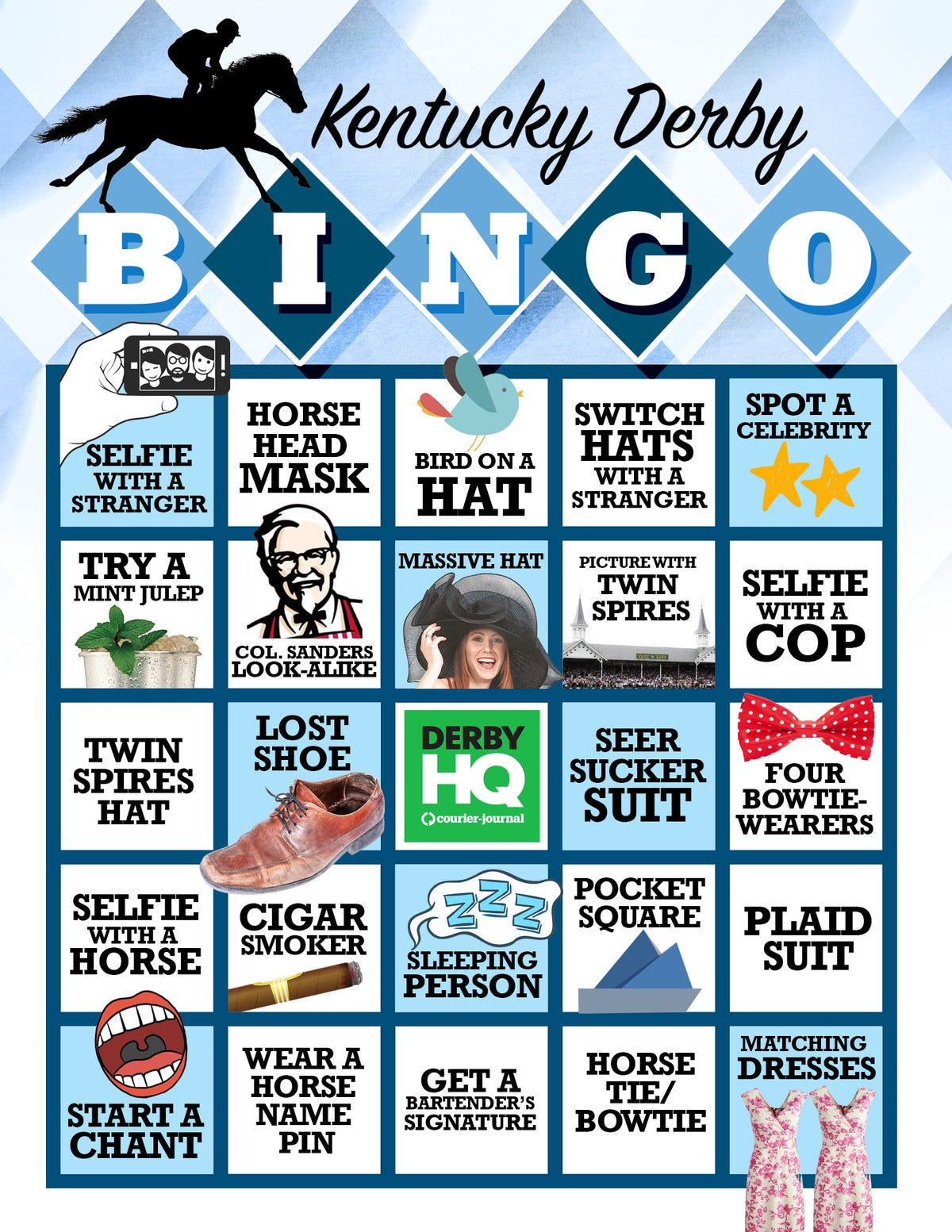 Kentucky derby hats and bowties clipart banner download Let\'s play Kentucky Derby Bingo banner download