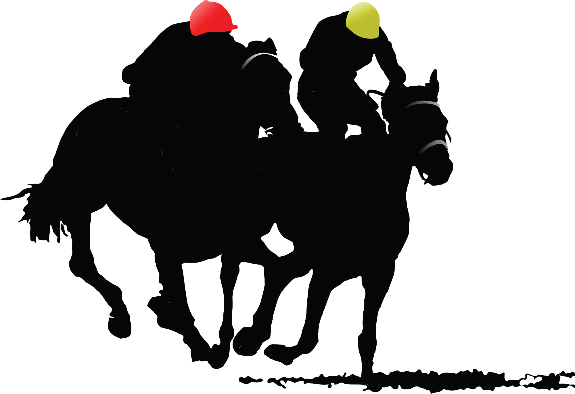 Kentucky derby horses in a row clipart