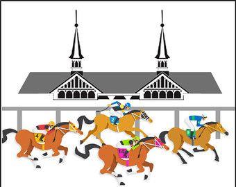 Kentucky derby horses in a row clipart clip library stock Churchill downs | Etsy | Kentucky Derby in 2019 | Churchill downs ... clip library stock