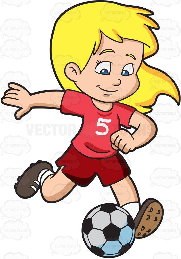 Kicking ball clipart jpg royalty free stock Cartoon A Girl Kicking A Soccer Ball vector clip art with commercial ... jpg royalty free stock