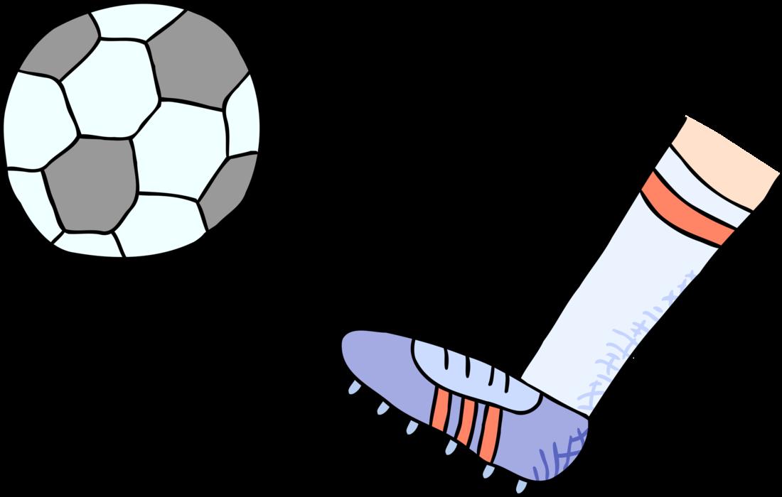 Kicking football clipart clip free Foot Kicks Football Soccer Ball - Vector Image clip free