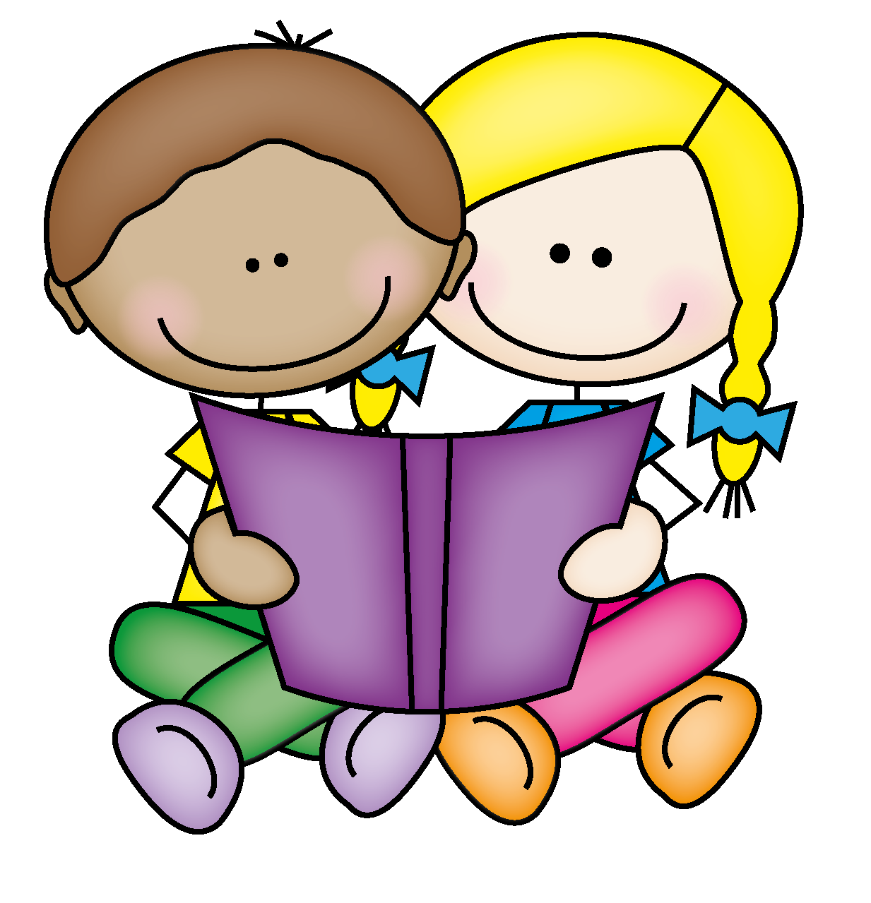 Kid with book clipart jpg free library Stick Kids Reading Clipart | Letters Format jpg free library