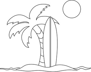 Kid and surfboard black and white clipart vector royalty free Beach black and white coloring pages clipart image surfboard and ... vector royalty free