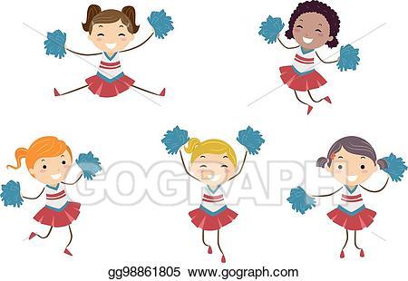 Kid cheerleader clipart clipart free Vector Stock - Stickman kids girls cheer leaders illustration. Stock ... clipart free
