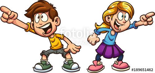 Kid clipart seperate jpg Cartoon boy and girl pointing at something. Vector clip art ... jpg