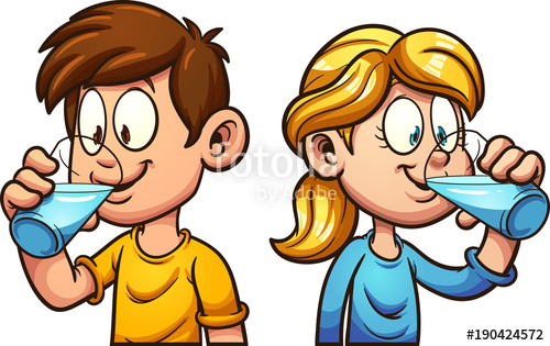 Kid clipart seperate clip black and white stock Cute cartoon boy and girl drinking water. Vector clip art ... clip black and white stock