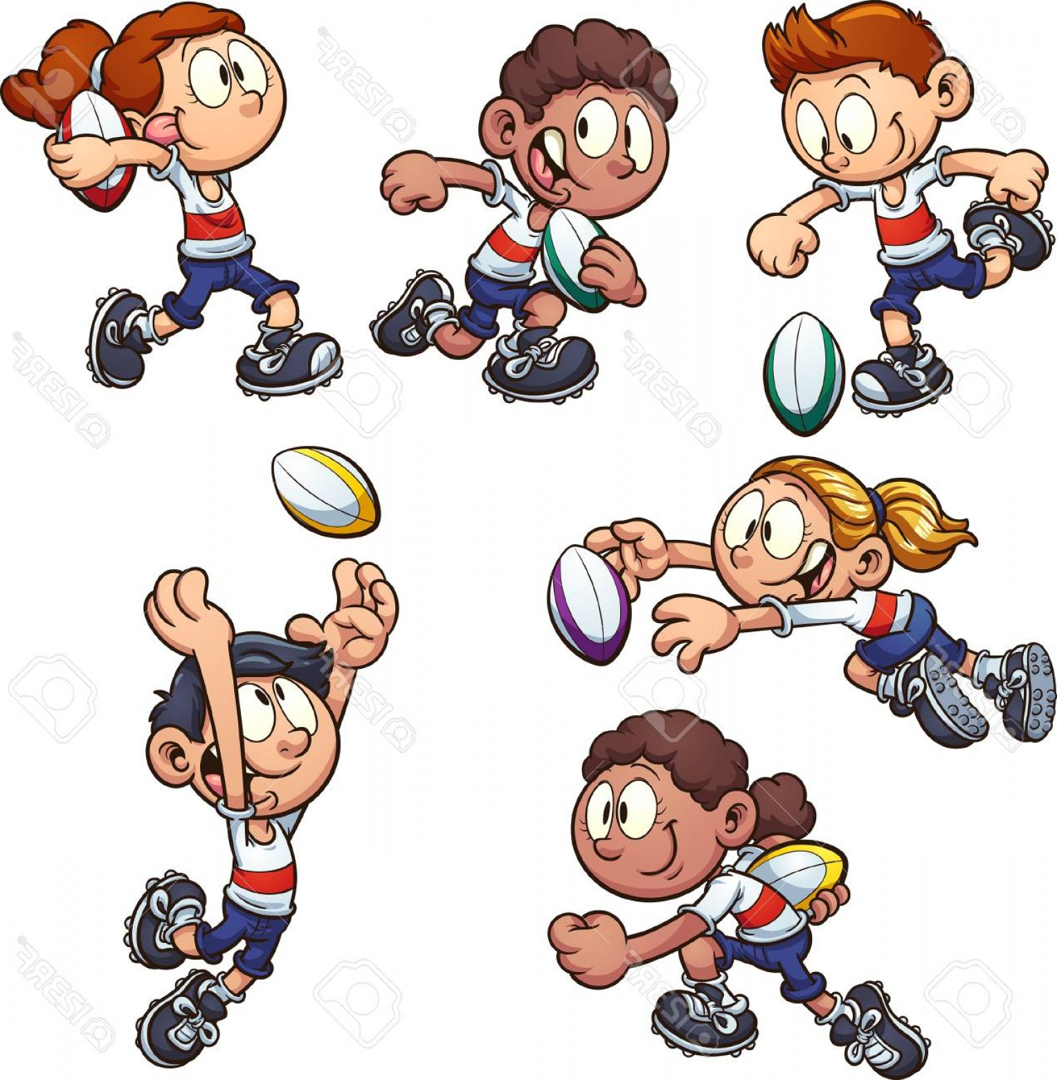 Kid clipart seperate clipart Photostock Vector Cartoon Kids Playing Rugby Vector Clip Art ... clipart