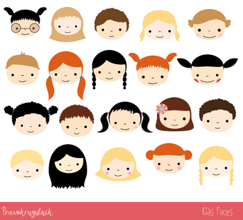 Kid clipart seperate clipart freeuse stock Cute kid faces clipart, Girls and boys heads clip art, Kawaii children faces clipart freeuse stock