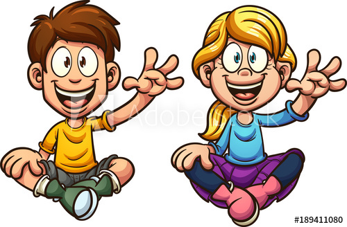 Kid clipart seperate svg download Cartoon boy and girl sitting and waving, looking front. Vector clip ... svg download