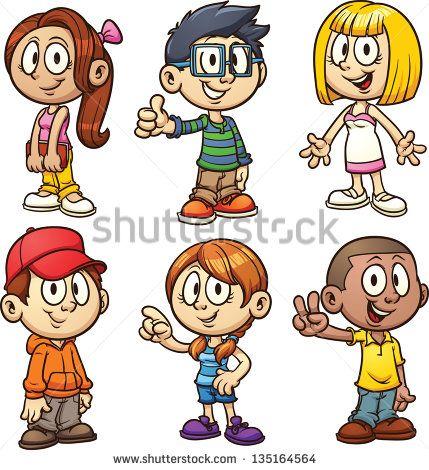 Simple child clipart clip art black and white stock Cute cartoon kids. Vector clip art illustration with simple ... clip art black and white stock