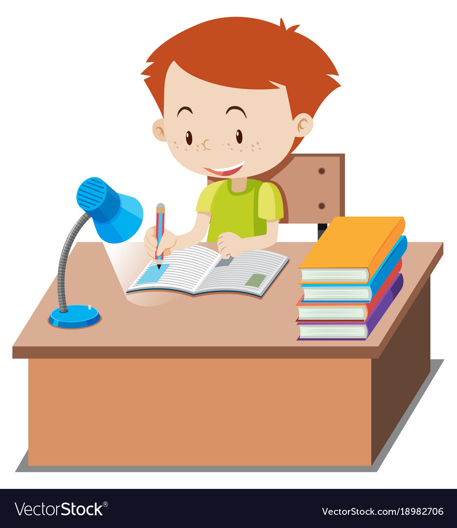 Kid doing school work at table clipart clip art black and white Little boy doing homework on table clip art black and white