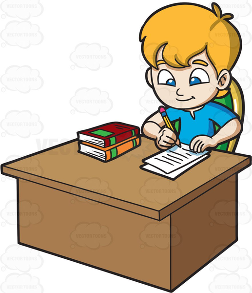 Kid doing school work at table clipart graphic Free Clipart Of Child Doing Homework Images At Clker Com Complete ... graphic
