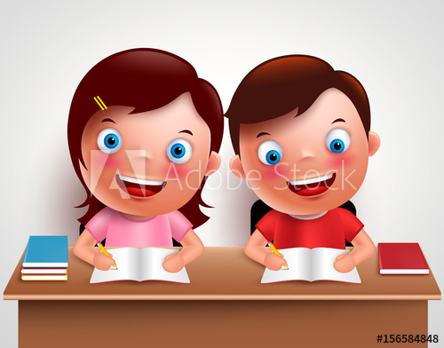 Kid doing school work at table clipart clip art transparent stock Kid boy and girl vector characters studying together doing homework ... clip art transparent stock
