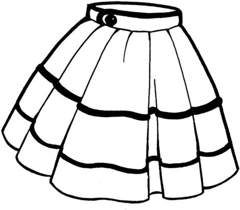 Kid dress and skirt clipart black and white clip art royalty free Skirt coloring page | Free Printable Coloring Pages clip art royalty free