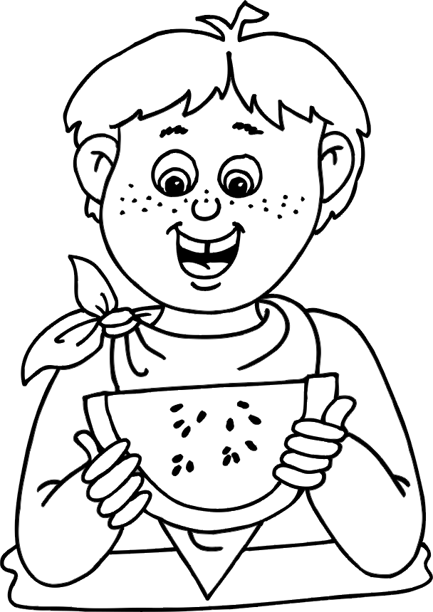 Kid eating a watermelon clipart black and white jpg freeuse download Healthy Food Colouring Pages | Childistan jpg freeuse download