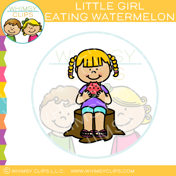Kid eating a watermelon clipart black and white clip royalty free library Little Girl Eating Watermelon Clip art clip royalty free library