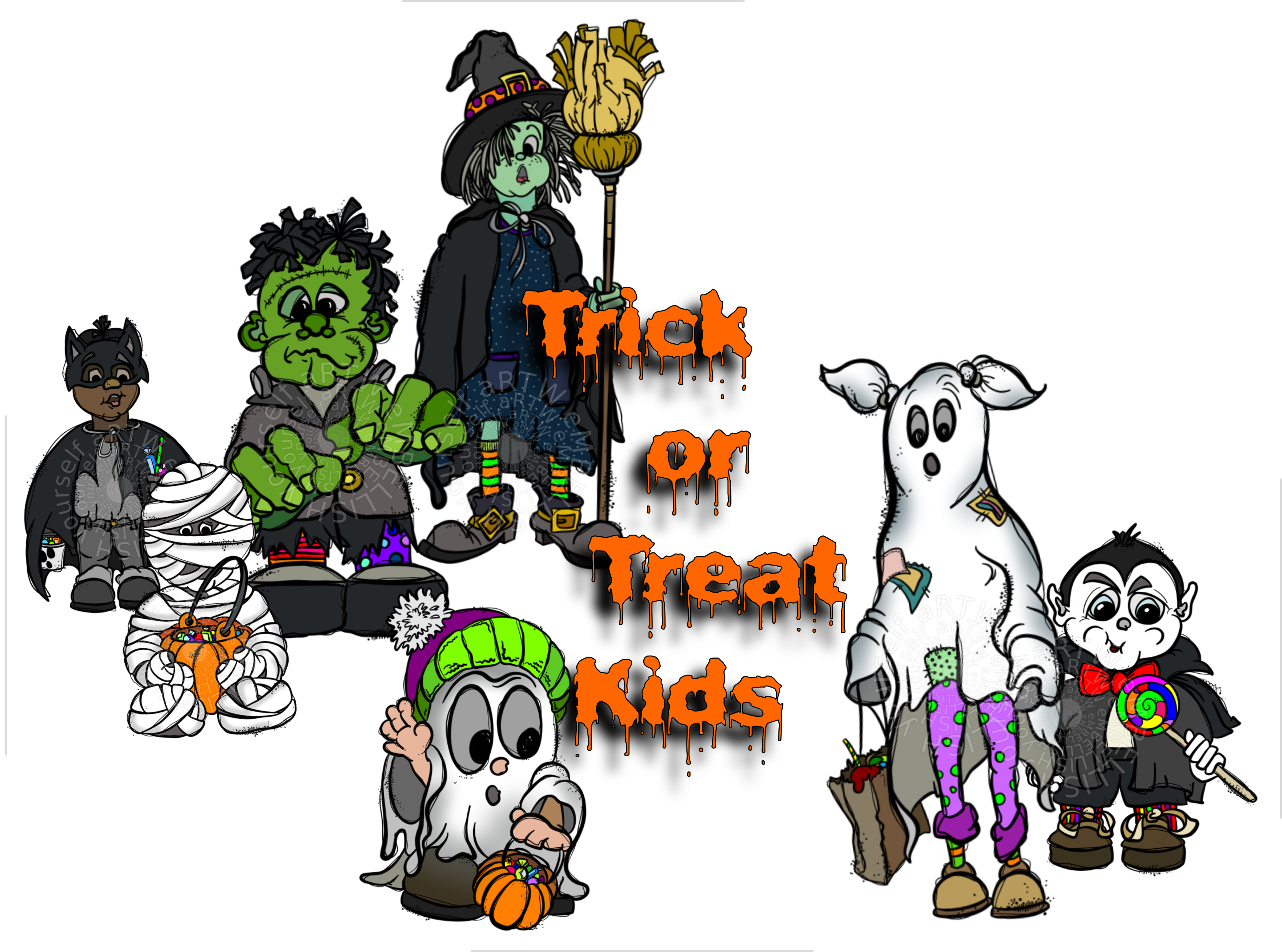 Kid friendly halloween character clipart clipart free stock Kids in traditional Halloween costumes clip art created by rz ... clipart free stock