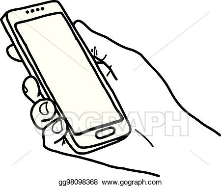 Kid has large hand holding out clipart picture freeuse library EPS Vector - Right hand holding big smartphone with home button and ... picture freeuse library