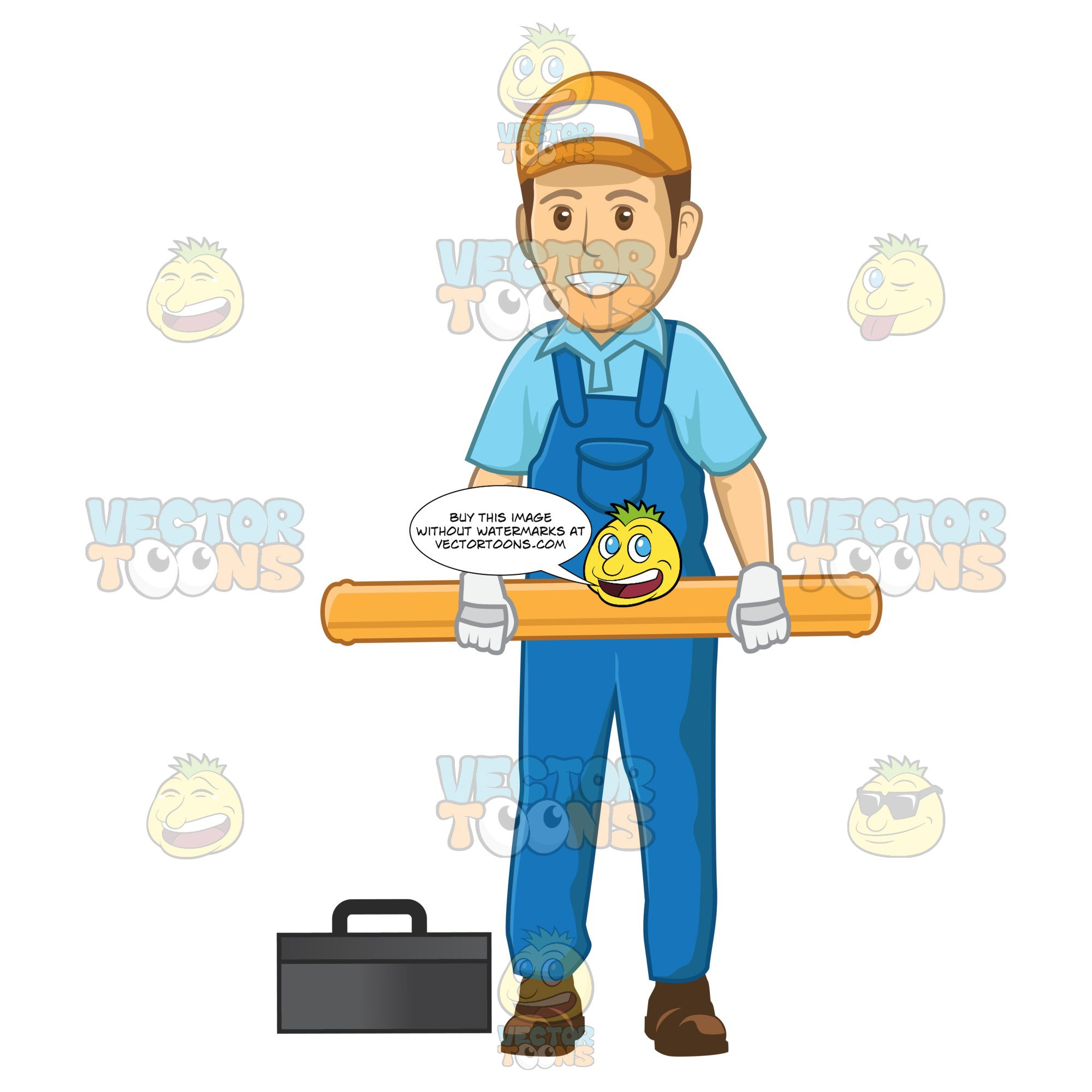 Kid has large hand holding out clipart banner library download Male Plumber Holding A Large Pipe With Two Hands banner library download