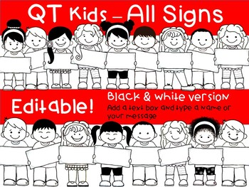 Kid holding price tag clipart royalty free library CLIP ART - QT Kids - ALL Signs! - Multicultural Kids Clipart royalty free library