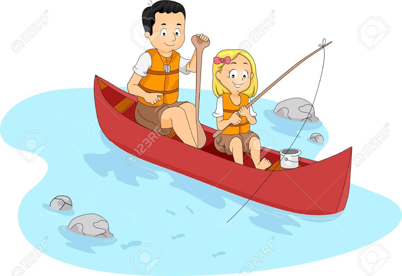 Kid in canoe clipart