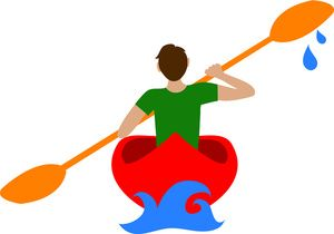 Kid in canoe clipart vector royalty free library Canoe Clipart Image: Man Paddling a Canoe or Kayak on a River or ... vector royalty free library