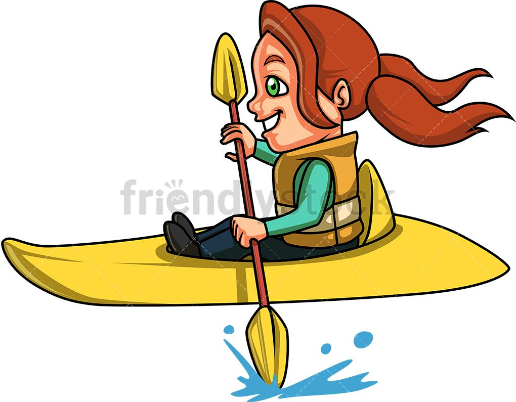 Kid in canoe clipart image black and white download Little Girl Doing Canoe Kayak   19 mayıs image black and white download