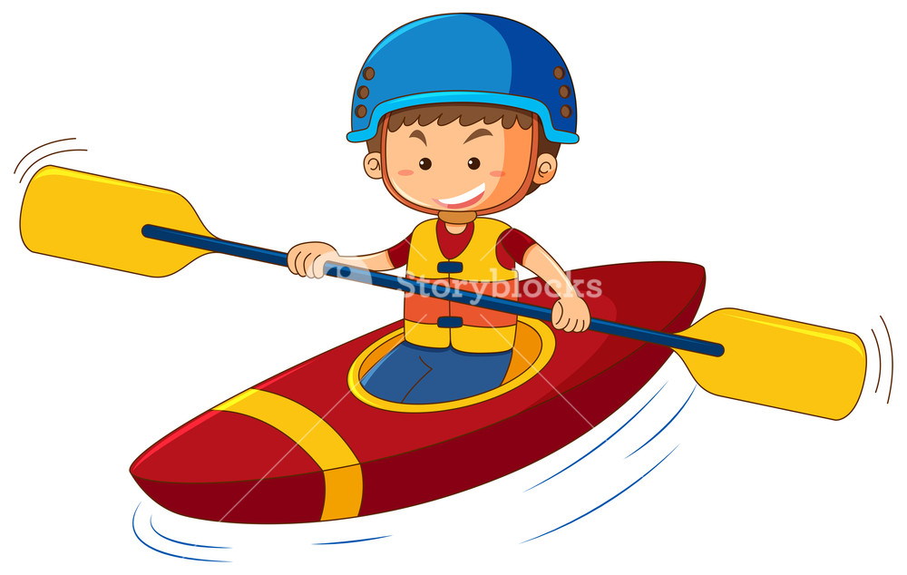 Kid in canoe clipart image royalty free library Boy wearing lifejacket and helmet in canoe Royalty-Free Stock Image ... image royalty free library