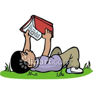Kid lying down reading clipart png library A Boy Reading a Book Outside - Royalty Free Clipart Picture ... png library