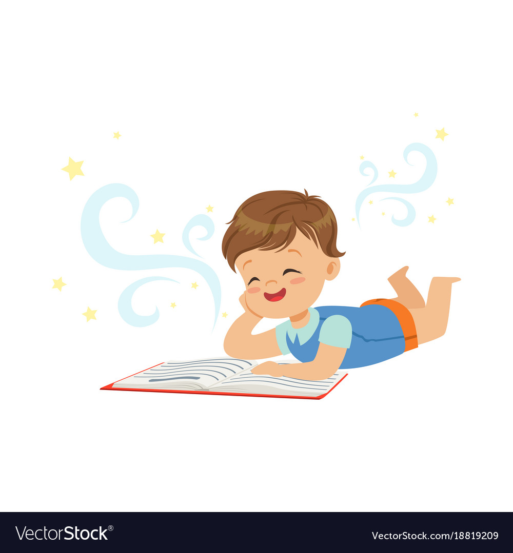 Kid lying down reading clipart banner free Funny little boy lying and reading magic book with banner free