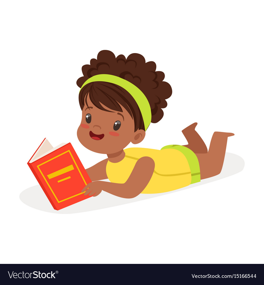 Kid lying down reading clipart vector royalty free Sweet african girl lying on the floor and reading vector royalty free