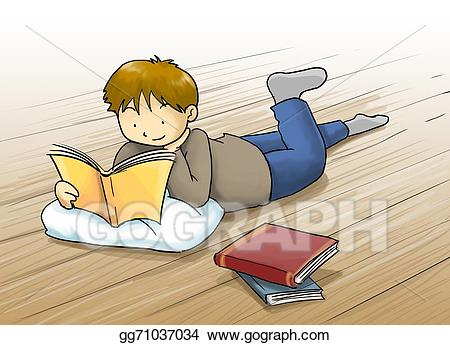 Kid lying down reading clipart jpg black and white download Stock Illustration - Kid reading a book cartoon illustration. kid, a ... jpg black and white download