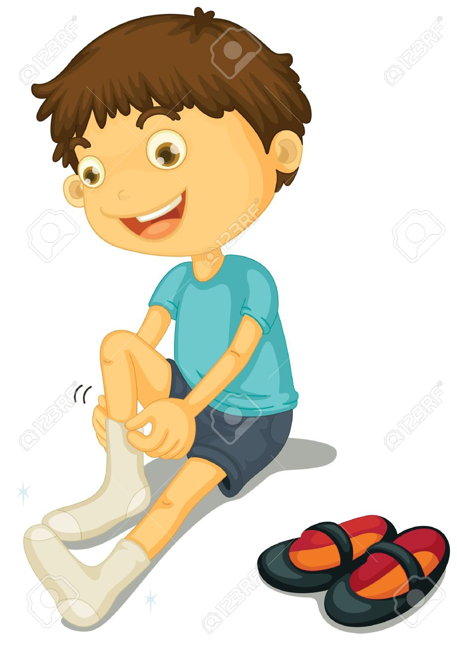 Kid putting shoes away clipart image black and white stock Put On Clothes Clipart | Free download best Put On Clothes Clipart ... image black and white stock