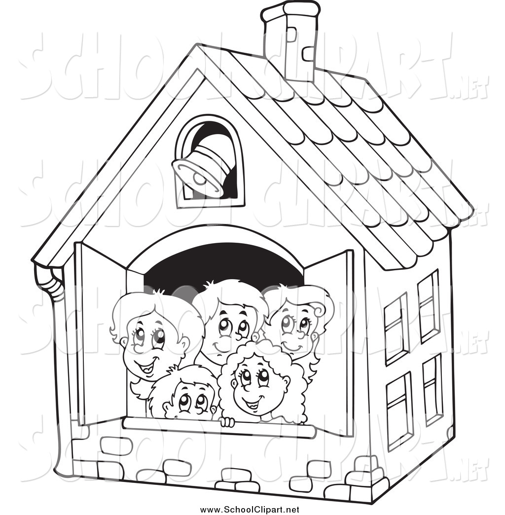 Kid school house clipart black and white picture transparent Clip Art of Black and White Happy Children in a School House by ... picture transparent