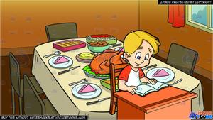 Kid sitting at table clipart white background picture royalty free stock A Boy Reading Some Text From The Pages Of His Book and A Table Set For  Thanksgiving Background picture royalty free stock
