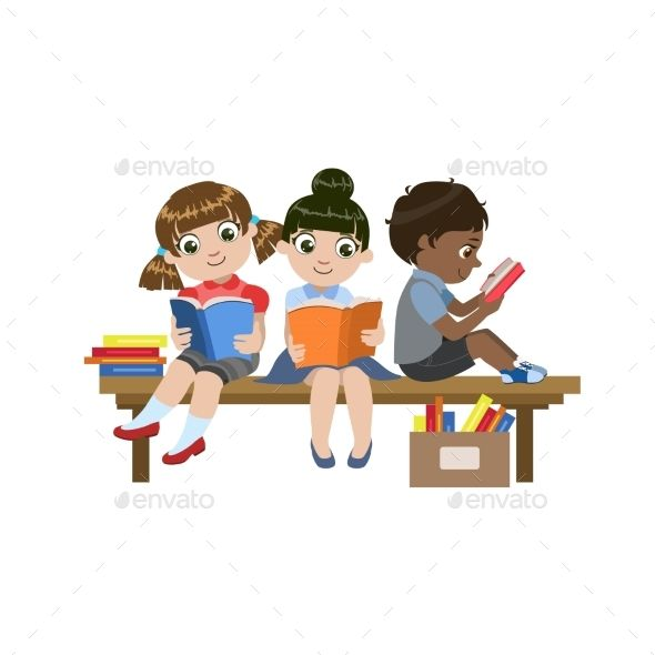 Kid sitting at table clipart white background clip art transparent library Kids Sitting On The Desk Reading Colorful Simple Design Vector ... clip art transparent library