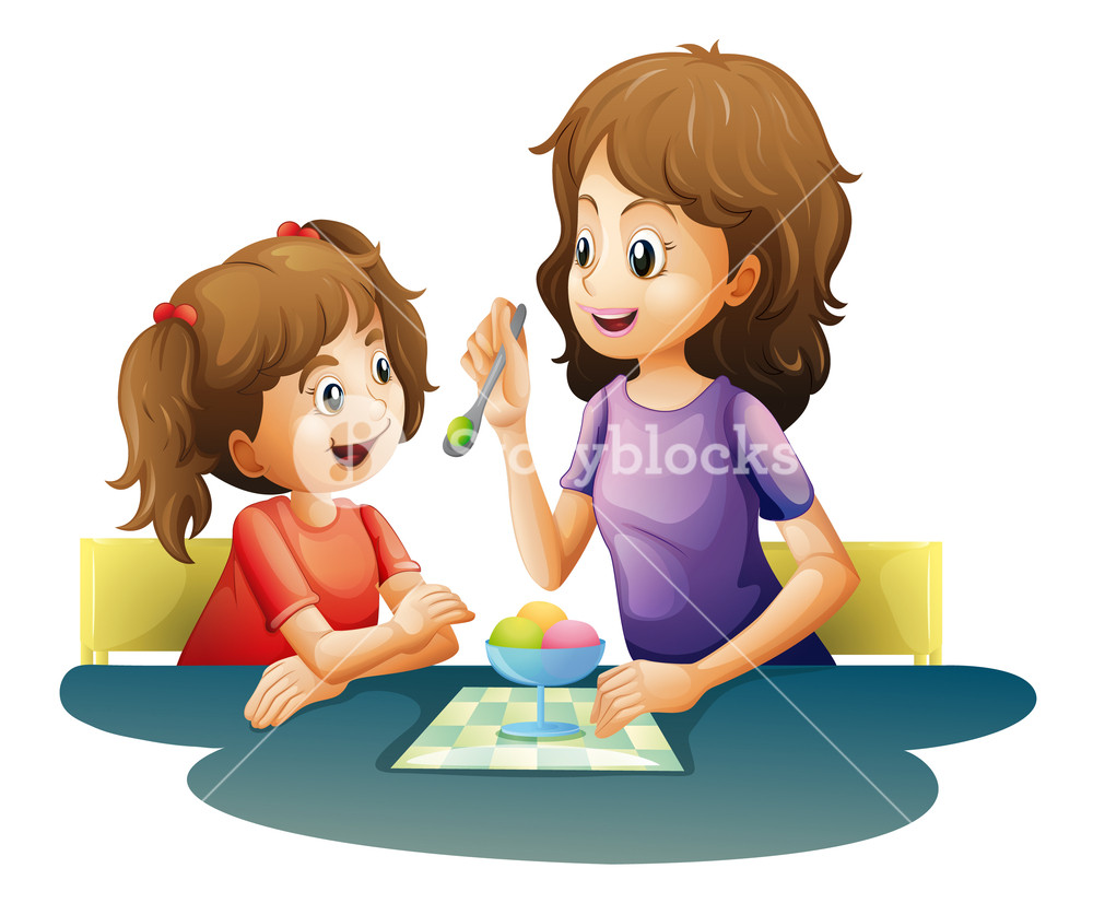 Kid sitting at table clipart white background banner free library illustration of mom and kid on a white background Royalty-Free Stock ... banner free library