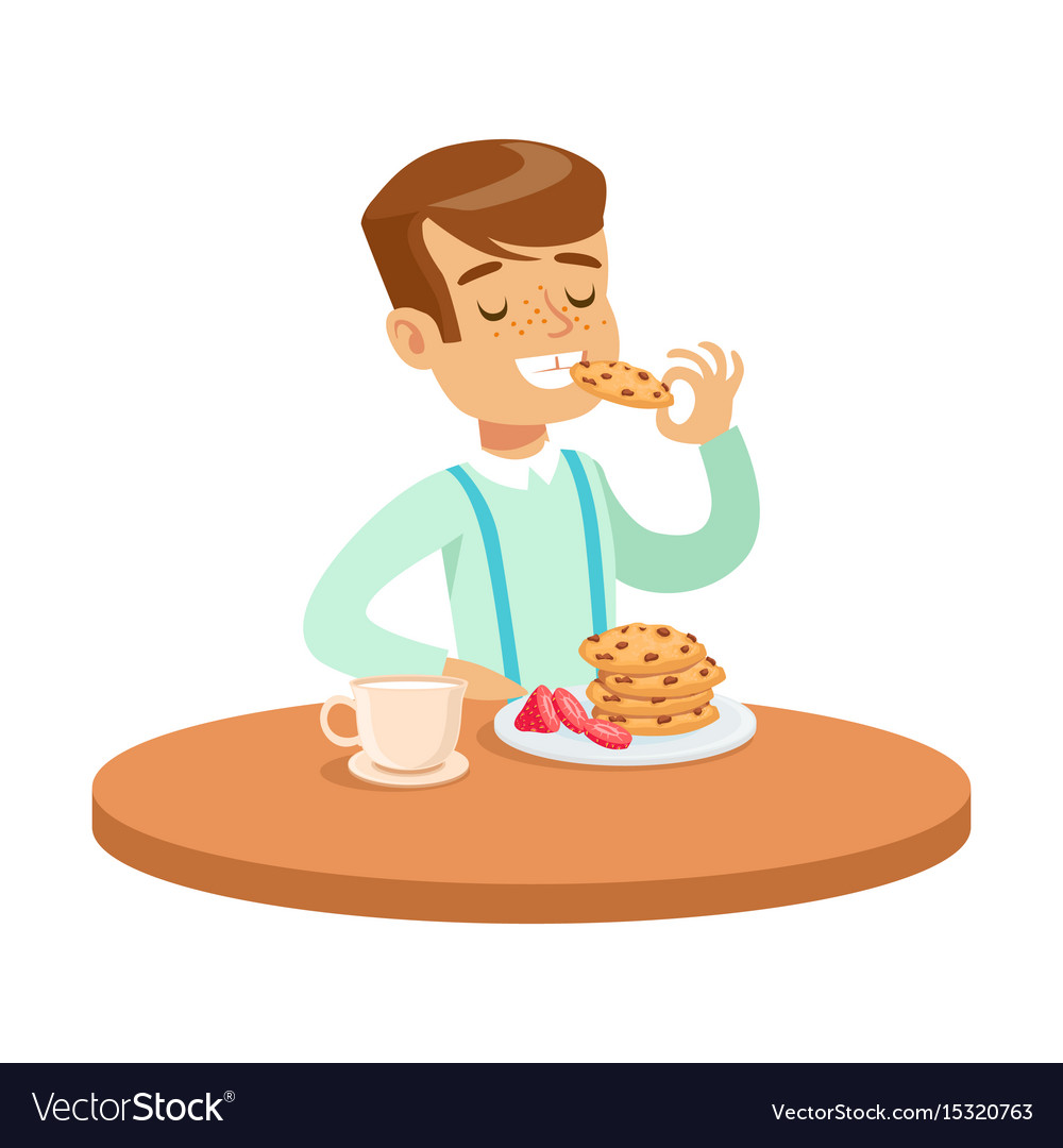 Kid sitting at table clipart white background clip art free download Happy boy sitting at the table and eating cookies clip art free download