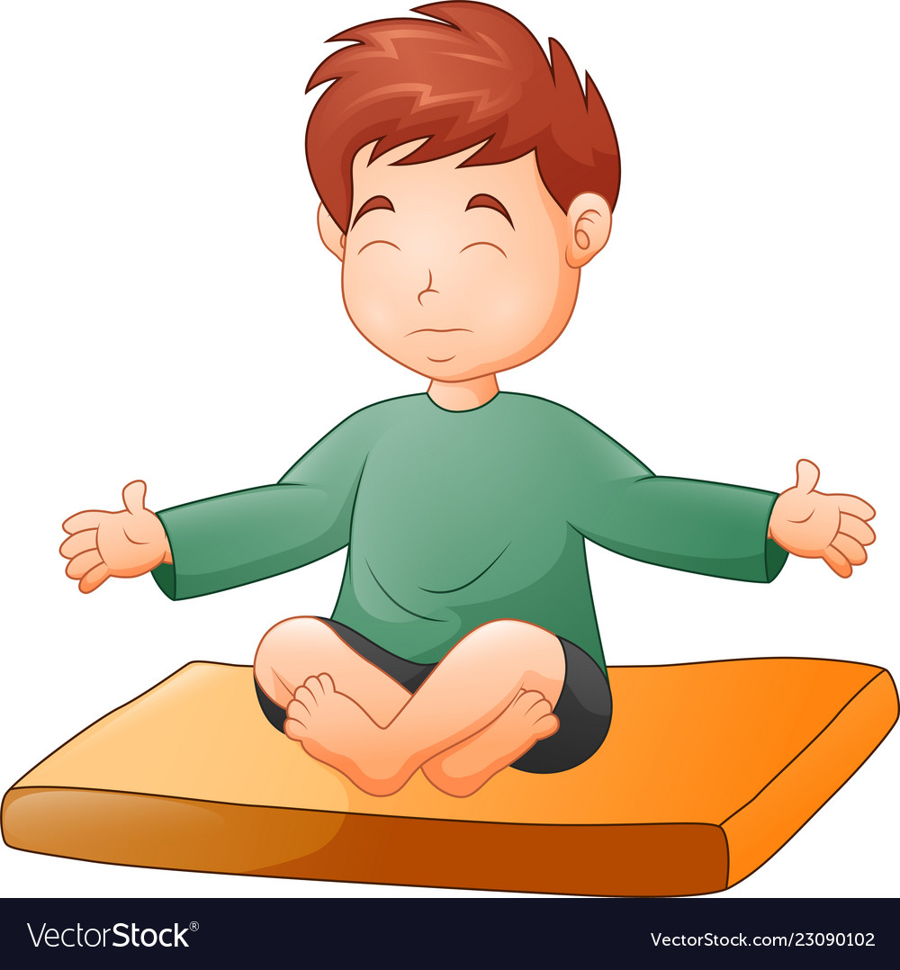 Kid sitting at table clipart white background graphic royalty free download Little boy doing yoga pose on white background graphic royalty free download