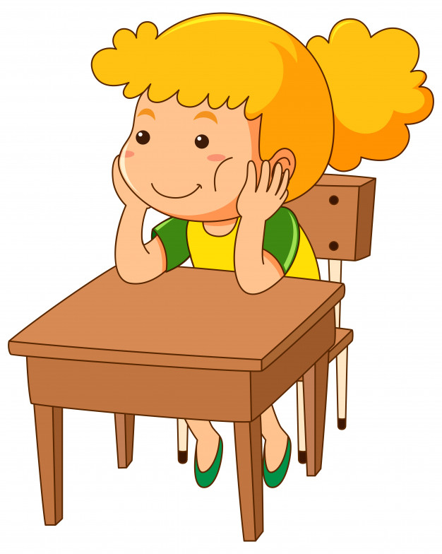 Kid sitting at table clipart white background clip transparent Girl sitting on wooden desk - Nohat clip transparent