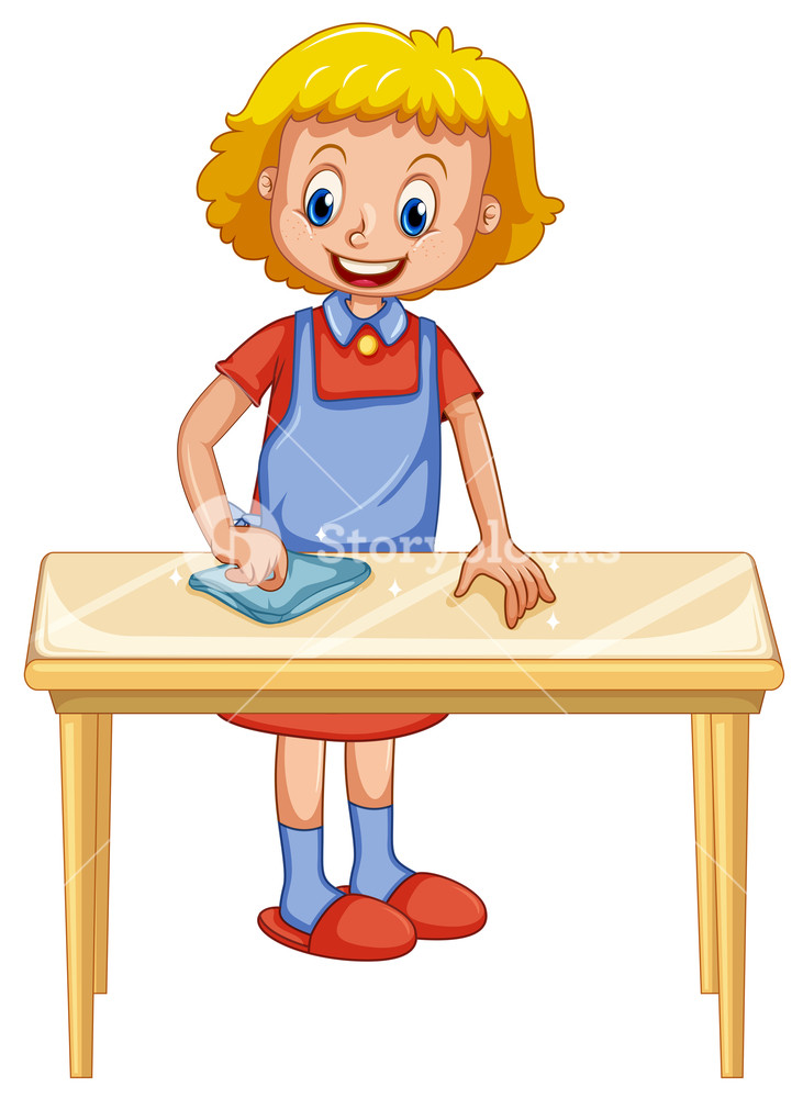 Kid sitting at table clipart white background image black and white download A Lady Cleaning Table on White Background Royalty-Free Stock Image ... image black and white download